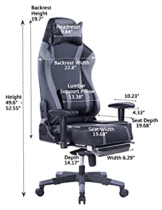 VON Racer Big and Tall Gaming Chair with Footrest- Adjustable Tilt, Back Angle and 2D Arms Ergonomic High Back Racing Leather Executive Computer Chair, Detachable Headrest Lumbar Support, Grey by VON RACER