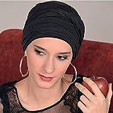 Black Head Scarf for Women Long Stretch Jersey Hair