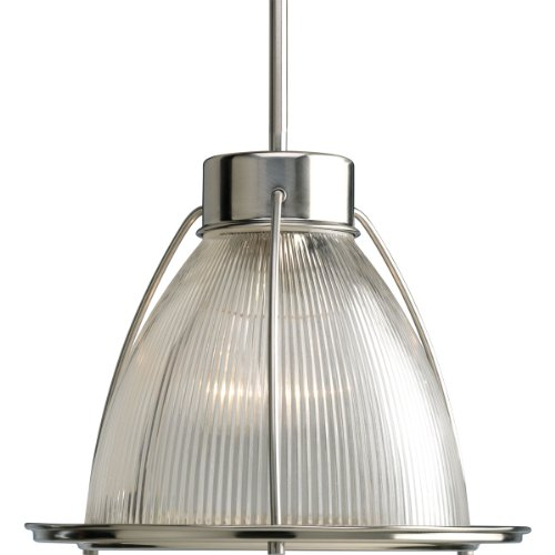 Progress Lighting P5182-09 1-Light Stem Hung Mini-Pendant with Clear Prismatic Glass, Brushed (Brushed Nickel Mini Pendant Stem)