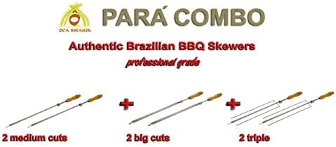 3 prong Professional Grade Set of 2  Triple Brazilian Skewers for BBQ 28/""