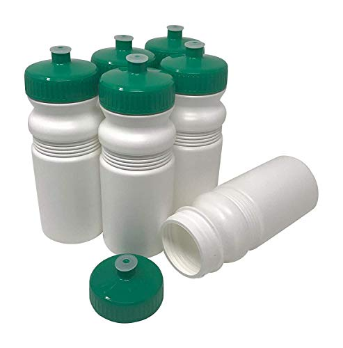 - CSBD Blank 20 oz Sports and Fitness Squeeze Water Bottles, BPA Free, HDPE Plastic, Made in USA, Bulk, 6 Pack (20 Ounces, White Bottle - 63mm Green Lid)