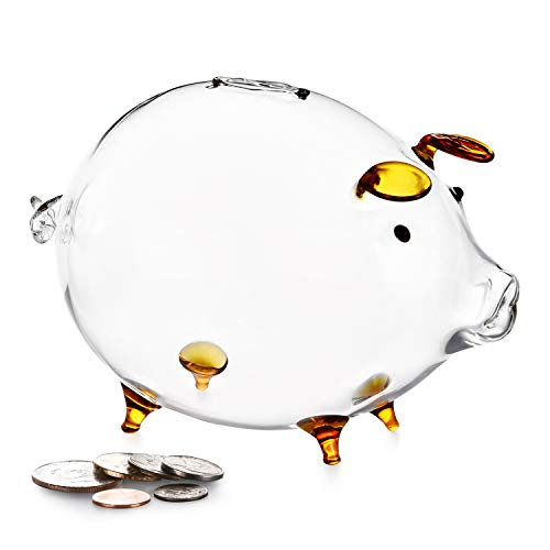 Erreloda Piggy Bank Transparent Creative Glass Coin Bank Small Glass Piggy Bank Money for Children Boys and Girls Birthday Gifts Home Decorative Gift Box Gold (Coin Gold Bank)