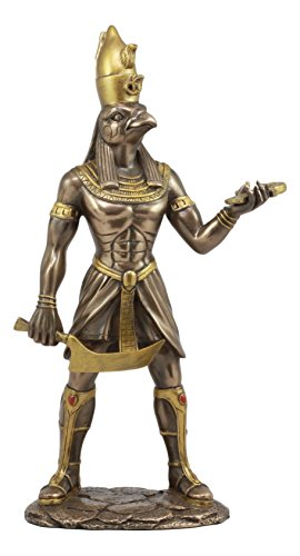Ebros Egyptian Mythology Horus With Pschent Double Crown Of Egypt Statue God of War Protection And Sky Figurine Crown Lower Egypt