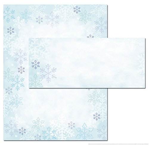 Blue Snowflakes Winter Holiday Invitations or Stationery Set of (Snowflake Party Invitations)