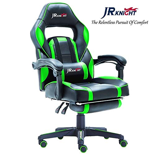 JR Knight LC-04 Ergonomic Gaming Chair with Footrest, Professional Gamer Design Home Office Computer Executive Swivel Racing Chair, PU Leather Padding Desk Chair (Black&Green)