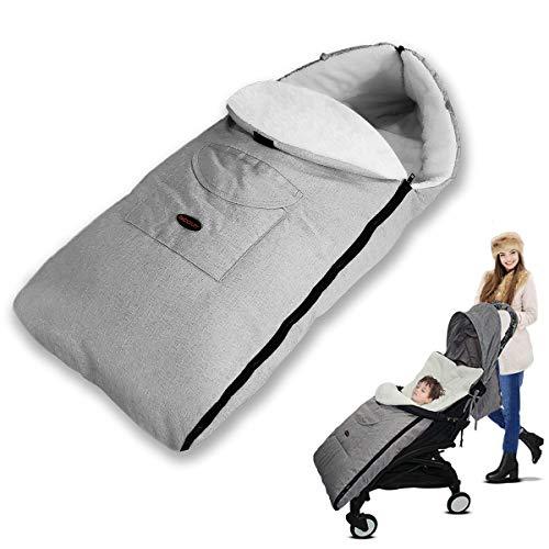 AUVSTAR Saco de Dormir Termico Universal para Bebe,Saco para silla de Paseo,Sacos de Abrigo para Carritos,Mantas Envolventes Invierno para Cochecito,Multifuncional Bebe Cubrepiernas Impermeable (Gris)