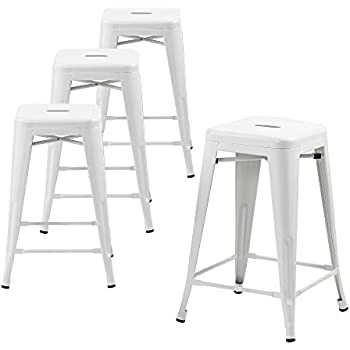 buschman set of four matte white 24 inches counter high tolixstyle metal bar stools