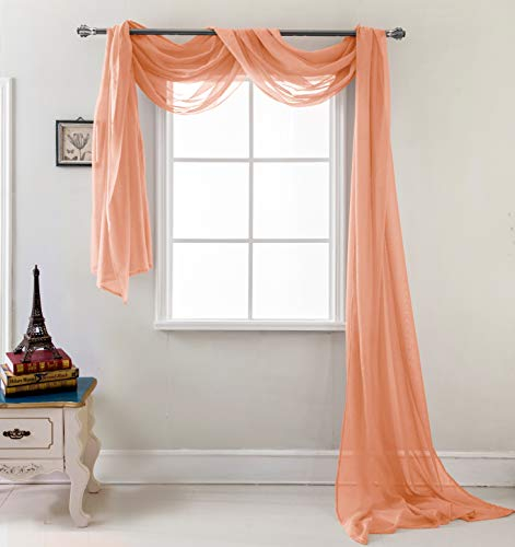 RT Designers Collection Celine Sheer 55 x 216 in. Sheer Curtain Scarf, Terracotta