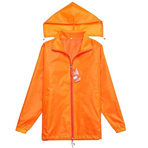 Poncho Arancione Lunga Giacca Impermeabile Manica A Unisex Pioggia Vento Uomo Donne Con Cappuccio Zevonda Di dCxtQhsrB