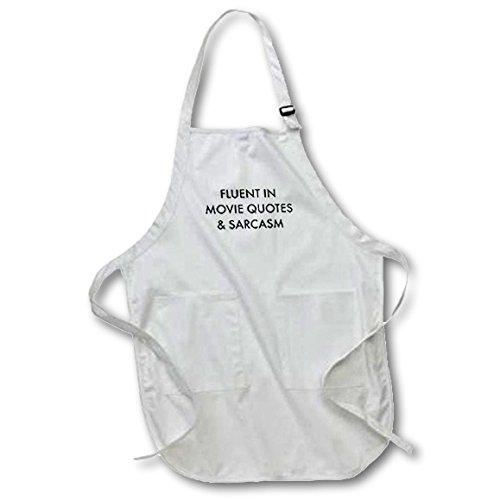3dRose apr_202807_2 Fluent in Movie Quotes & Sarcasm Medium Length Apron with Pouch Pockets 22 by 24''