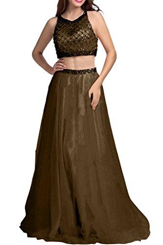 La_mia Braut Orange Zwei-teilig Tuell Steine Abendkleider Ballkleider Abschlussballkleider Abiballkleider Prinzess A-Linie Rock Lang Braun zI0nJ7nmli