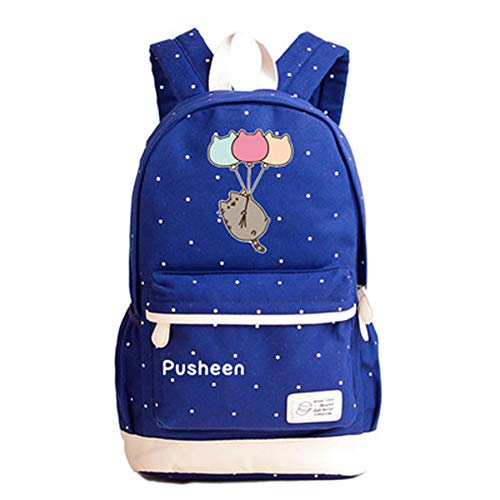 YOURNELO Teen's Lovely Fashion Pusheen The Cat School Backpack Rucksack (C Sapphire 7)