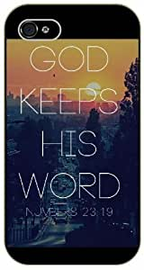 God keeps his word - City and sunset - Bible verse IPHONE 5C black plastic case / Christian Verses