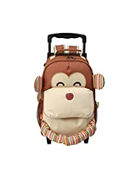 Yodo Convertible Playful 3-Way Little Kids Rolling Luggage or Toddler Backpack with Wheels, Large Front Quick Access Pouch for Snacks or Knickknacks, for Boys and Girls Age 3+, Monkey