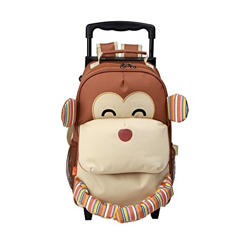 Yodo 3-Way Toddler Backpack with Wheels Little Kids Rolling Luggage, Monkey
