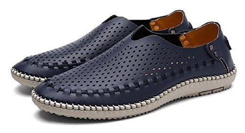 Mens Genuine Leather Loafer Shoes Summer Beach Slip On Walking Driving Shoes by JiYe Blue Hole 8tzhIn