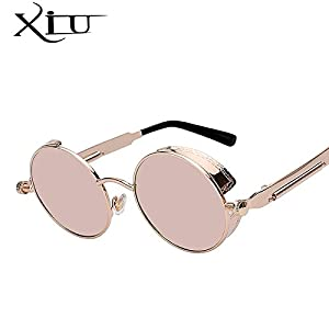 Round Metal Sunglasses Steampunk Men Women Fashion Glasses Brand Designer Retro Vintage Sunglasses UV400, Gold Frame Pink Mirror Lens.