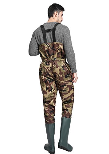 Review Cleated Fishing Hunting Waders 2-Ply Nylon/PVC Waterproof Boot-foot Chest Wader Camouflage 8-13