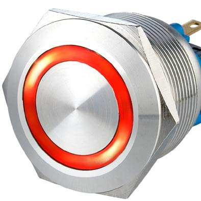 22mm Ring Illuminated Latching anti vandal switch,Self Locking Vandal Resistant Electrical Light Switch - (Color: Red, Voltage: 110V, Size: momentary)