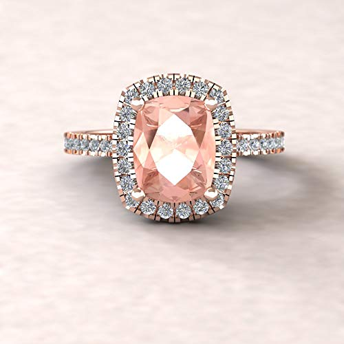 Cathedral Cushion Cut Ring - 9x7mm Genuine Morganite and Diamond Engagement Ring from our Helena Collection - By Laurie Sarah - LS5886