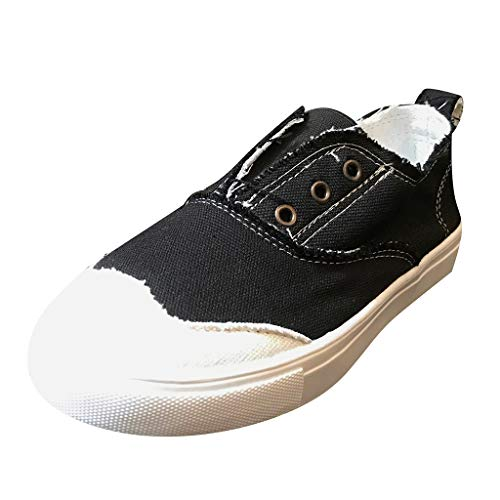 Bravetoshop Fashion Sneakers Women Canvas Casual Loafers Slip on Distressed Boat Walking Shoes(Black,42)