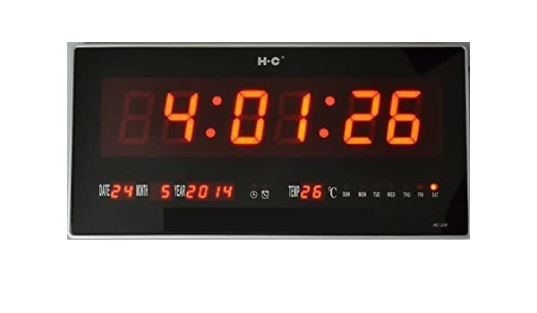 Ideal AB482 - Reloj digital de pared, led, con fecha y temperatura, medidas: 47 x 22 x 3 CM: Amazon.es: Hogar