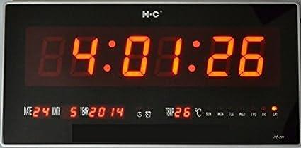 Ideal AB482 - Reloj digital de pared, led, con fecha y temperatura, medidas