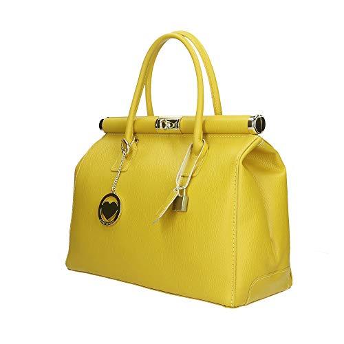 Giallo Pelle In Borse Bag A Borsa Italy Cm 35x28x16 Made Chicca Mano wygOPqyp
