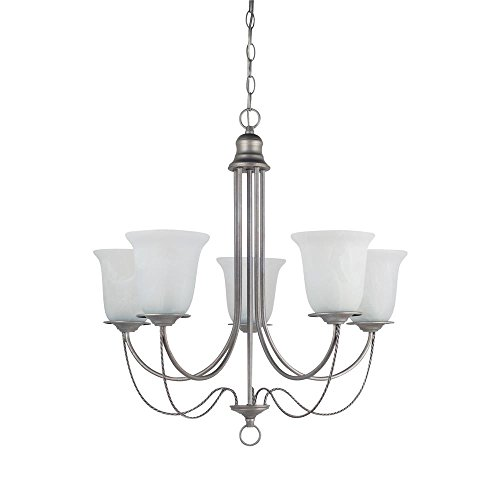 Sea Gull Lighting 31292-57 Chandelier with White Alabaster Glass Shades, Weathered Pewter Finish