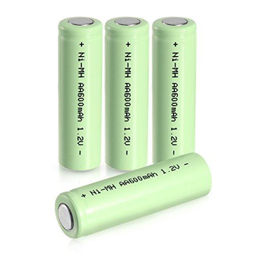 uxcell 4 Pcs 1.2V 600mAh AA Ni-MH Battery Shaver Rechargeable Batteries Flat Head for Solar lights Garden Lamp