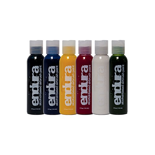 European Body Art EBA Endura 6 Color Airbrush Body Paint Pack for Face and Body Painting - Waterproof, Durable Professional Makeup - 1oz Bottles by European Body Art