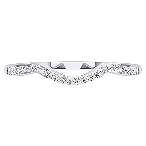 0.15 ctw 18K White Gold Plated Round Cut Created White Diamond Ladies Anniversary Wedding Stackable Band Contour Guard Ring