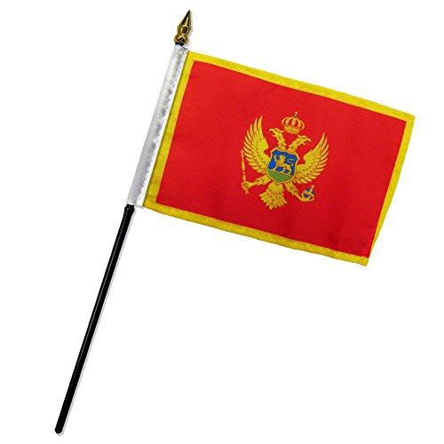 (ALBATROS Montenegro 4 inch x 6 inch Flag with Stick for Desk, Table for Home and Parades, Official Party, All Weather Indoors Outdoors)