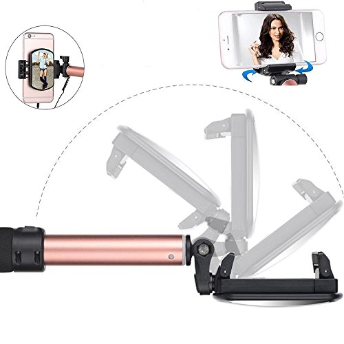 Selfie Stick with iPhone Lightning Wire Control Extendable Compact Handheld Tripod with Mirror HD Rear Camera Shooting for iPhone X 8 8Plus 7 7Plus 6 6S Plus (iPhone Lightning Connector Gold) good