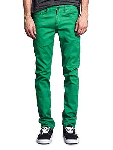 Victorious Men's Skinny Fit Color Stretch Jeans DL937 - Kelly Green - 34/32