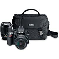 Nikon D3200 24.2 MP CMOS Digital SLR Camera with 18-55mm and 55-200mm Non-VR DX Zoom Lenses Bundle (discontinued by manufacturers)
