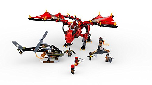 41ZG4eoR81L - LEGO NINJAGO Masters of Spinjitzu: Firstbourne 70653 Ninja Toy Building Kit with Red Dragon Figure, Minifigures and a Helicopter (882 Pieces)