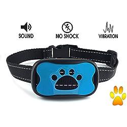 New No Bark Dog Collar - No Harm Pain- No Shock - Anti-Bark Static Vibration & Warning Sound Stops Barking - Features 7 Sensitivity Adjustable Control Levels