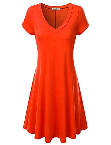 J.TOMSON Women's Short-sleeve V-neck Dress ORANGE L