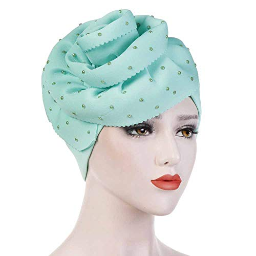 Gift for Friends Shmei Women Cap Hair Loss Head Scarf Stretch Turban Wrap Women's Ceramic Handmade Flowers Large Solid Color Flanged Space Cotton Head ()