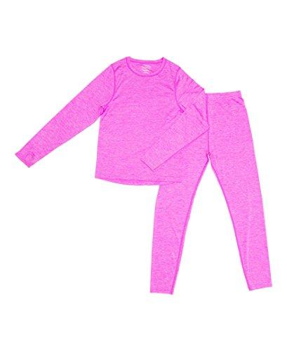 Thermal Long Sleeve Dye - Trimfit Girls Space Dye Long-Sleeve w/Thumbholes Thermal 2 pc Set Pink X-Large (14-16)