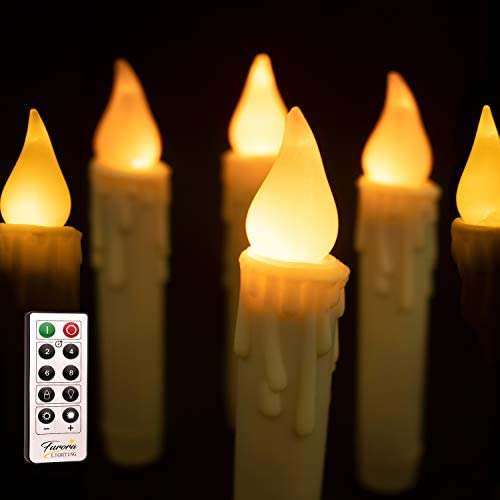 Furora LIGHTING 7 Taper Flameless Led Candles – Flickering Tapered Candles Battery Operated, Remote Control Candlesticks with Timer Featured – Pack of 6