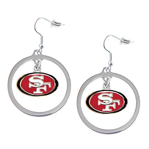 Earrings Nfl Hoop - aminco NFL San Francisco 49ers Charm Hoop Earring Set