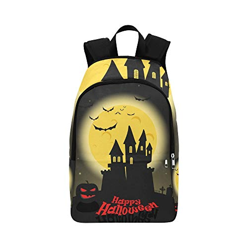 (Dark Castle Full Moon Happy Halloween Casual Daypack Travel Bag College School Backpack for Mens and)