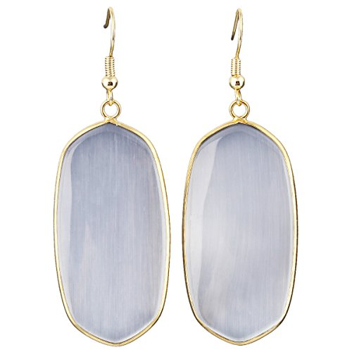 SUNYIK Women's Gray Cat Eye Stone Oval Dangle Earrings Gold - Gray Earrings Gemstone
