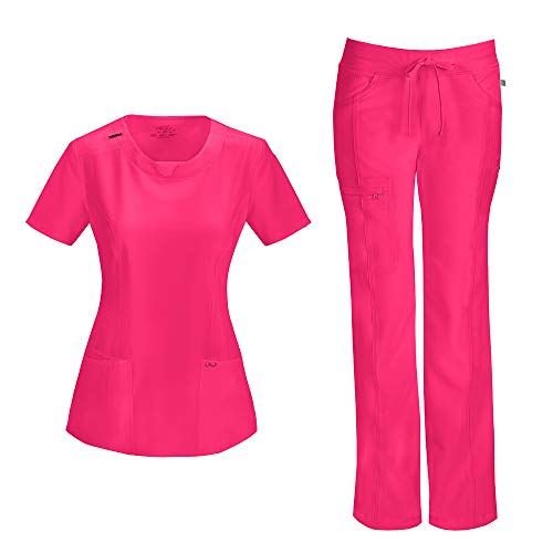 (Cherokee Infinity Women's with Certainty Round Neck Top 2624A & Low Rise Drawstring Pant 1123A Scrub Set (Antimicrobial) (Poppy Pink - Small/Small Petite))