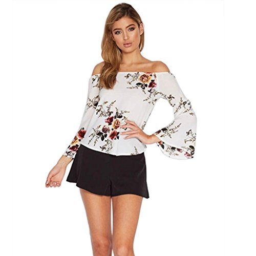 TOOPOOT Women's Off Shouders Floral Print Casual Blouse Trumpet Sleeve Shirts Tops (S, white) (Sexy Ponytails)