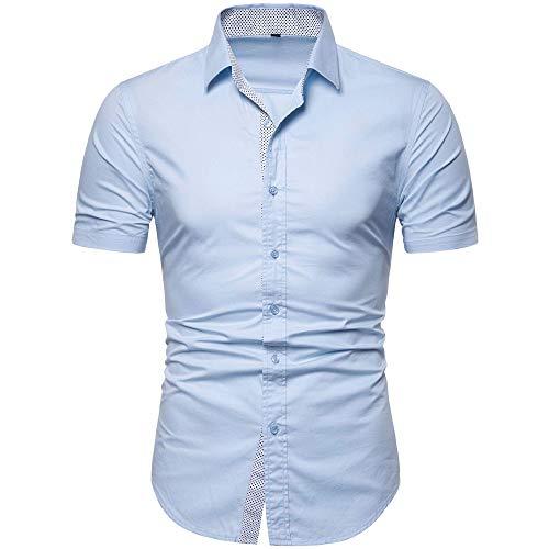 - MUSE FATH Men's Cotton Short Sleeve Button Up Regular Fit Dress Shirt-Light Blue C73-2XL