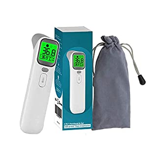 No-Touch Digital Infrared IR Thermometer for Adults, Kids and Baby; Temporal Fever Detection by Forehead or Ear, Non-Contact Medical Body Temperature Laser Gun, Carrying Case, 3-6 Day Free Delivery