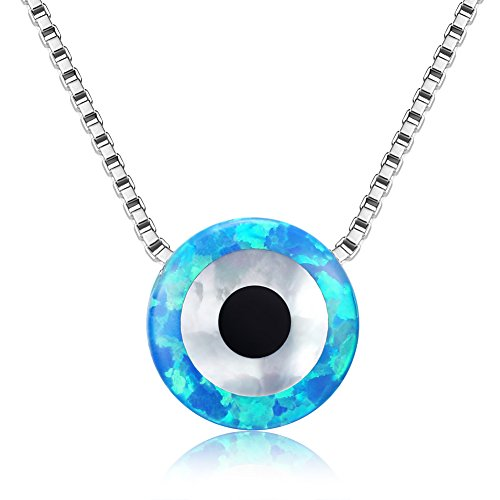2in Sterling Silver Logo Pendant - Round Evil Eye Necklace Sterling Silver Blue Synthetic Opal Pendant 925 Chain 16